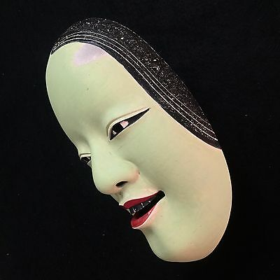 Antique Japanese mask of NOH  KO-OMOTE Kabuki Kagura Bugaku Hannya