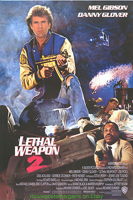 LETHAL WEAPON II MOVIE POSTER 27x40 Rare Intl. Style + PAYBACK 27x40 MEL GIBSON