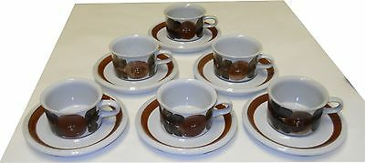 Vintage Rosemary Cups & Saucers Stoneware Signed Ulla Procope Arabia Finland