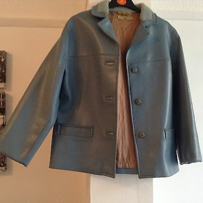FABULOUS TRUE VINTAGE ST MICHAEL BLUE LEATHER LOOK 1960's JACKET SIZE 14