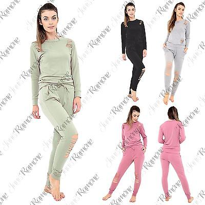 New Womens Distressed Ripped Round Neck Top Bottoms Suit Lounge Wear Tracksuit