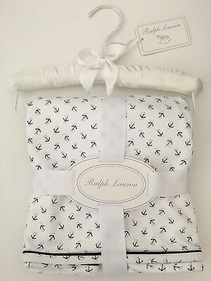 BNWT Ralph Lauren Baby Boy's Anchor-Print Cotton Blanket on Padded Hanger