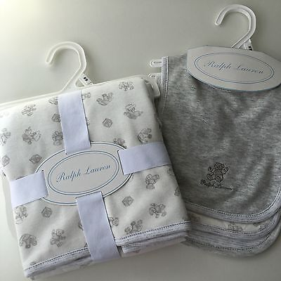 BNWT Ralph Lauren Baby's blanket and 3 bibs - white & grey teddy bear elephant