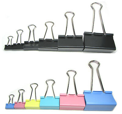 15mm 19mm 25mm 32mm 41mm 50mm Coloured & Black Foldback Binder Bulldog Clips Eco