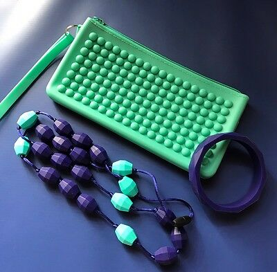 Brand New Food Grade Silicone Teething Necklace, Bracelet And Clutch For Storage