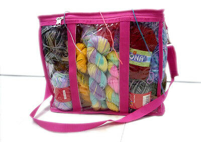 PInk Knitting Bag Yarn Storage Tote Organizer Flexible 3 Zipped Compartments