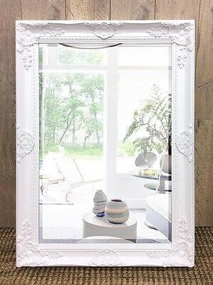 Large Mirror Ornate Wall Metal Provincial Decor Frame Hanging Art Glass White