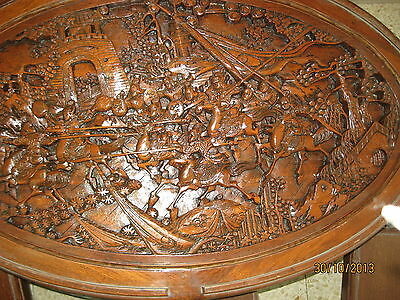 HAND CARVED WOOD COFFEE TABLE & PERSONAL TABLES JAPAN 1940's