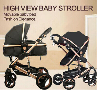 Khaki Baby Toddler Pram Stroller Foldable Buggy Jogger With Bassinet Pushchair