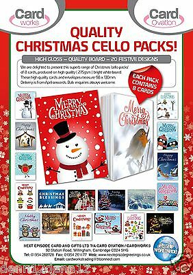 JUST 39p, CHRISTMAS CARDS IN PACKS OF 8 x 150, HIGH QUALITY BOARD, 20 DESIGNS