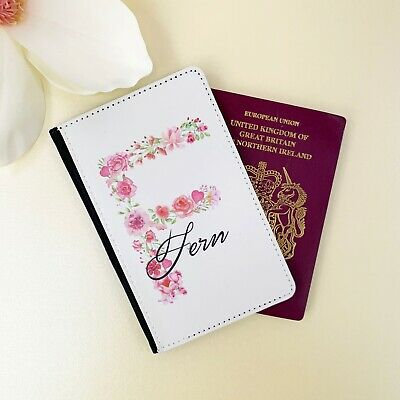 Personalised Customised Faux Leather Passport Holder Cover Floral Initial