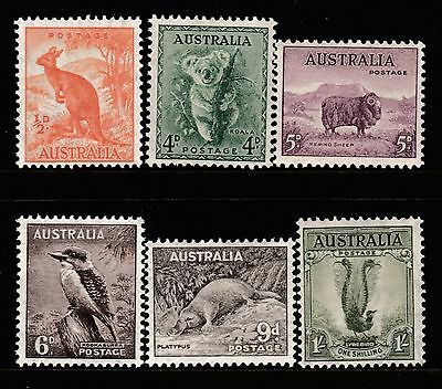 1937-56 ZOOLOGICAL SERIES PRE-DECIMAL STAMP SET WITH C of A WATERMARK- FRESH MUH