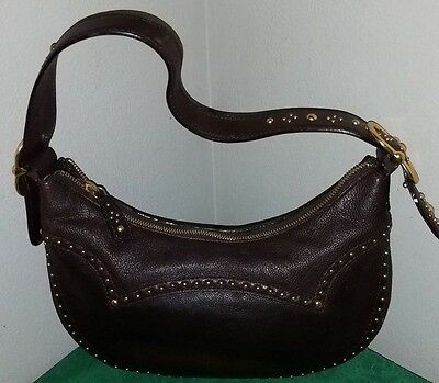 **MICHAEL KORS** RHEA Gold Studded Chocolate Brown LEATHER Small HOBO Bag!