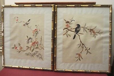 Antique Pair 2 Silk Embroidered Bird on Branch Wall Art Asian Oriental Panels