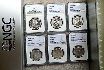 SIX KENNEDY & FRANKLIN SILVER HALF DOLLARS: NGC MINT STATE in NGC BOX, FREE SHIP