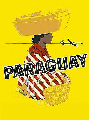 Paraguay by Airplane South America American Vintage Travel Advertisement Poster