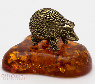 Solid Brass Amber Figurine of Forest Hedgehog Totem talisman IronWork