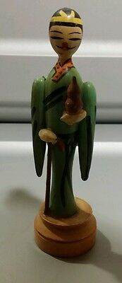 """VINTAGE Old Chinese Carved Painted Wood Figurine Man 4 1/2""""tall"""