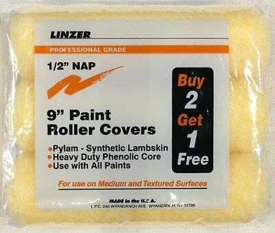Linzer RS1443 High Density Polyester Filament Paint Roller Covers, 1/2-Inch Nap