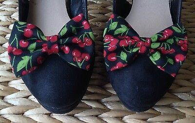 NEW PAIR BLACK RED CHERRY CHERRIES PRINT COTTON FABRIC BOW SHOE CLIPS 50s RETRO