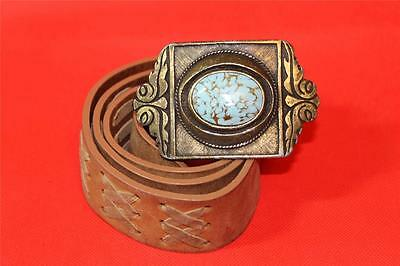 """Southwester Belt Buckle Brass and Turquose Color Center Free Belt approx 30-32"""""""