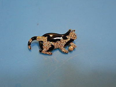 Black Enamel Cat Kitty Kitten w/ Crystal Rhinestones & Pearl on Gold Brooch Pin