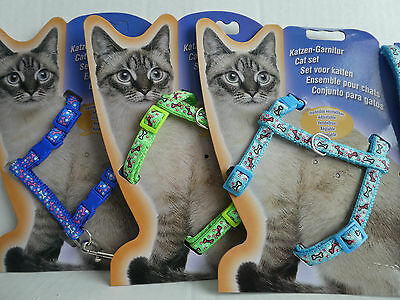 Cat Kitten Adjustable Harness & Lead Set Various Colours Bones & Stars Pattern