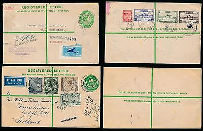PAKISTAN REGISTERED STATIONERY ENVELOPES KUTCHERY + MIRPURKHAS to HOLLAND 1952-6