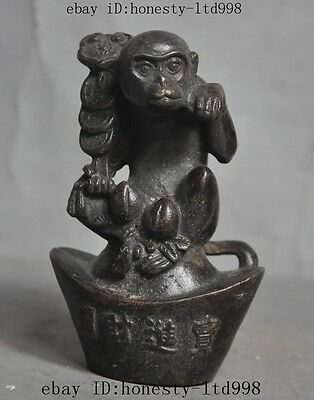 Folk China Fengshui Bronze Peach Monkey RuYi YuanBao money lucky Statue Animals