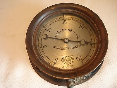 "Vintage...1906...Brass....Metal...6""...Crosby..Steam...Gauge...Worcester...Mass."