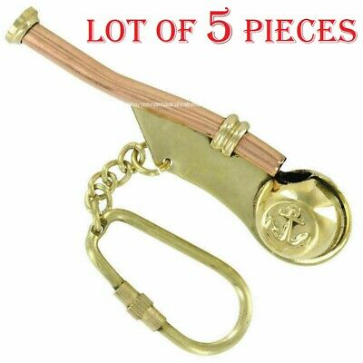 "Lot Of 5 Pcs Brass Boatswain's Pipe Bosun Whistle Key Chain 3"" Christmas Gift"