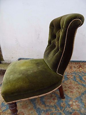 Antique Victorian French Button Back Mahogany Fireside Hall Side NURSING Chair