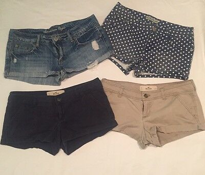Lot of 4 ~ Women's Shorts Size 5 & 6 ~ AMERICAN EAGLE, HOLLISTER, PARIS BLUE