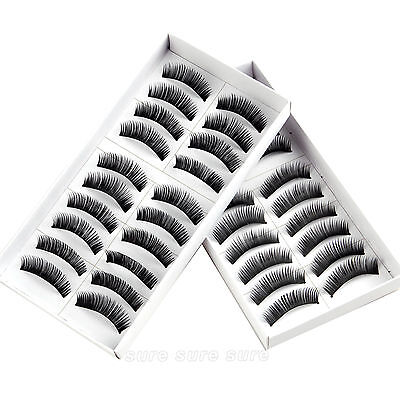 20 par x 3D Pestañas Falsas Larga Eyelash Rizo Natural Reutilizable Maquillaje