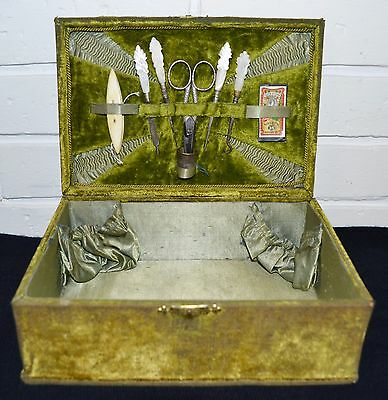 Antique Victorian Sewing Box Mother of Pearl Tools Needle Packet Scissors (1900)