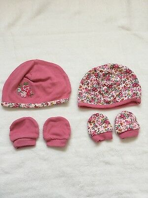 baby girl hats and mittens pair bundle 0-3 months