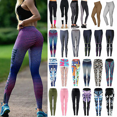 Women's Yoga Gym Stretch Leggings Pants Fitness Jogging Running Sports Trousers