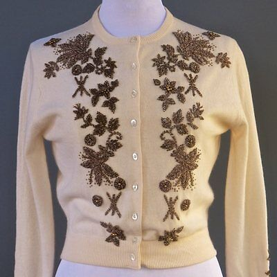 VTG 50s Cream Cashmere Wool Blend Heavily Bronze Glass Beaded Floral Sweater S M