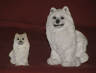 """Samoyed Figurines - Stone Cutters - 4"""" And 2 ¼""""- Made In USA"""