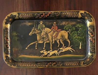 Vintage Toleware Folk Art Tray Beautiful - Signed Plm On Back