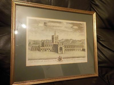 Framed Antique Coloured Print of St Albans Abbey