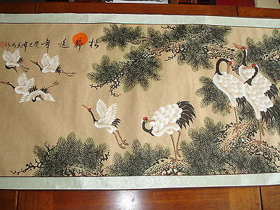 Japanese Scroll Crane Scene/Signed by the Artist Very Good Condition