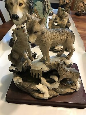 Wolf Family Resin Figurines. Lot