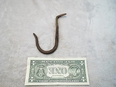 "EARLY Antique Barn Farm hand forged blacksmith Cast Iron hanging 5"" Hook hanger"