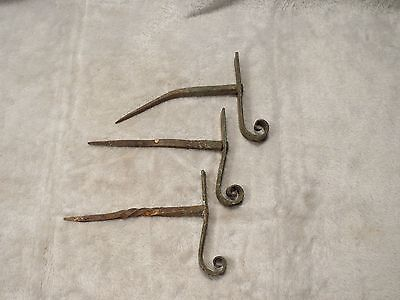 LOT of 3 SMALL Antique Mission twisted cast iron metal Hooks Blacksmith EARLY