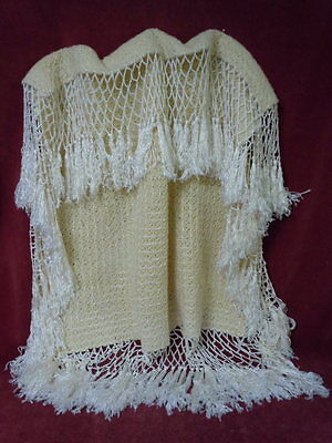 Antique christening wool Blanket pure silk threads fringe for baby compo german