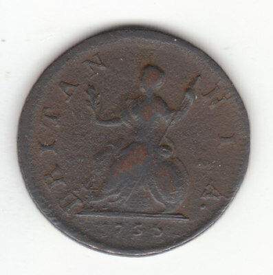 1736 George II British US Colonial Farthing Copper Coin.