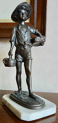 Bronze Or Bronzed Spelter Figure Of A Boy - Fish Seller - Marble Base - Art Deco