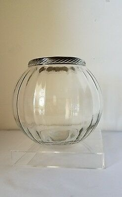 VTG Antique RIBBED GLASS GALLON JAR STORE Counter APOTHECARY PRIMITIVE Metal lid