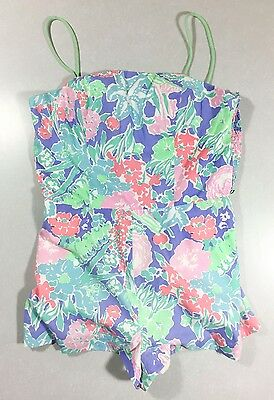 Vintage Floral Bathing Suit 1960s Romper Play Suit Swimsuit Pastel Pin Up